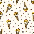 Creative seamless pattern with ice cream in wafer, waffle or sugar cone. Backdrop with delicious frozen dessert. Vector