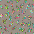 Creative Seamless Pattern with Motley Fall on Light Brown Backdr