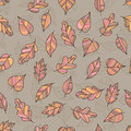 Creative Seamless Pattern of Pastel Leaves on Coffee-Colored Bac