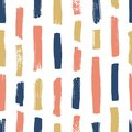 Creative seamless pattern with pink, blue and yellow vertical paint traces on white background. Abstract backdrop with