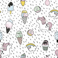 Creative seamless pattern with unicorn, donut, ice cream,rainbow. Doodle childish background. Vector Illustration.