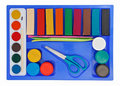 Creative set of aquarelle paint box, plasticine Royalty Free Stock Photo