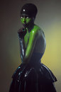 Creative shot with green bodyart Stock Photos