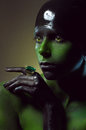 Creative shot with green bodyart Royalty Free Stock Photo