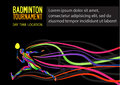 Creative silhouette of a professional badminton player sport invitation poster or flyer background with empty space banner Royalty Free Stock Photo
