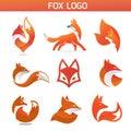 Creative simple fox Animal logo collection