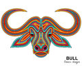 Creative stylized bull head in ethnic linear style animal background vector illustration Stock Image