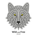 Creative stylized wolf head in ethnic boho style. Good for logo, ornamental tattoo, t-shirt design. Animal background. Highly deta Royalty Free Stock Photo