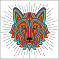 Creative stylized wolf head in ethnic linear style. Good for logo, tattoo, t-shirt design Royalty Free Stock Photo
