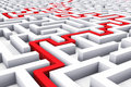 Creative success marketing strategy and motivation concept red path across endless white labyrinth Stock Photos