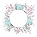 Creative summer round template with tropical leaves. Black contour in hand drawn style. Place for text. Tender colors.