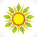 Creative sun and green leaf icon design concept Royalty Free Stock Image