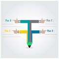Creative template with pencil ribbon banner flow chart Royalty Free Stock Photo