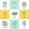 Creative thinking and invention flat icons line set of process learning study activities explore discovery new things planning Royalty Free Stock Photo