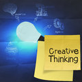 Creative thinking  with sticky note on the big idea diagram on c Royalty Free Stock Photo