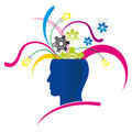 Creative thinking stylized head with explosion of creativity and colors Royalty Free Stock Image