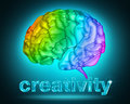 Creative thought illustration of a brain with the colors of the rainbow Royalty Free Stock Image