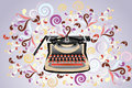 Creative typewriter retro styled illustration with colorful swirls eps vectors Royalty Free Stock Photography