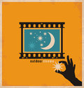 Creative and unique design concept for outdoor cinema minimalistic retro poster vector open air theater Stock Images