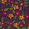 Creative universal artistic floral seamless pattern background. Hand Drawn textures with colorful flowers. Trendy