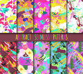 Creative universal different hand drawn seamless patterns endless texture abstract fills surface and colorful geometric
