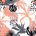 Creative universal floral background in tropical style. Hand Drawn textures. Royalty Free Stock Photo
