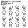 Creative vector icon set - boy, man Emoticons. Set of smiley icons: different emotions. Vector icons of smiley Royalty Free Stock Photo
