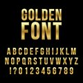 Creative vector illustration of golden glossy font, gold alphabet, metal typeface isolated on transparent background