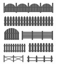 Creative vector illustration of rural wooden fences, pickets isolated on background. Art design. Garden silhouettes wall Royalty Free Stock Photo