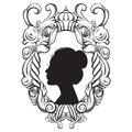 Creative vector illustration of woman bautiful young profile