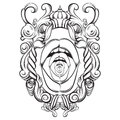 Creative vector illustration of woman mouth in baroque frame.