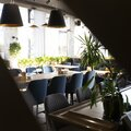 Creative view on cozy loft interior of restaurant, copy space Royalty Free Stock Photo
