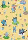 Creative wallpapers cats vector yellow Stock Photos