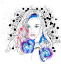 Creative watercolor vector woman portrait eps illustration beautiful face and Stock Images