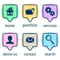 Creative website menu icons Royalty Free Stock Photo