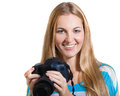 Creative woman photographer takes photos Royalty Free Stock Photo