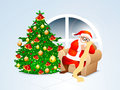 Creative xmas tree and santa claus for christmas shiny with ornaments illustration of reading wish list merry celebration Stock Images