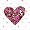 Creative zentangle heart with text Love. Valentines day cute card. Vector art for holiday