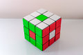 Creatively solved rubiks cube problem solving concept Royalty Free Stock Photography