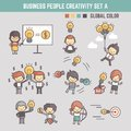 Creativity business people concept vector illustration outline c