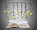 Creativity concept above a book