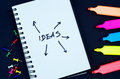Creativity concept: notebook with ideas, brainstorming, highlighters and pins on dark background. Royalty Free Stock Photo