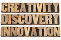 Creativity discovery innovation words a collage of isolated text in letterpress wood type printing blocks Royalty Free Stock Photography