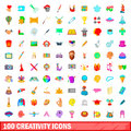 100 creativity icons set, cartoon style