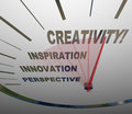 Creativity innovation imagination speedometer new ideas a with needle racing past words perspective and inspiration to the term to Royalty Free Stock Photography