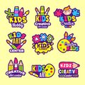 Creativity kids logo. Craft emblems or badges children paintings art class drawing vector symbols