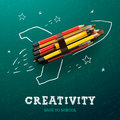 Creativity learning. Rocket with pencils Royalty Free Stock Photo