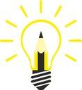 Creativity and new ideas pencil inside a bulb represent Royalty Free Stock Photo