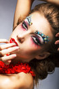 Creativity. Shiny Woman Actress with Bright Make Up. Glamor Stock Photos
