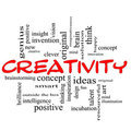 Creativity Word Cloud Concept Red Black Royalty Free Stock Photo